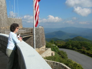 Brasstown Bald looking out with woman