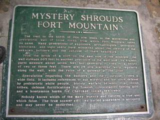 Fort Mountain Park wall description sign